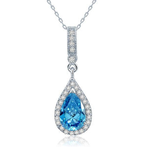 925 Sterling Silver Fashion Bridesmaid Blue Pendant Necklace Bridal Wedding Tear Drop