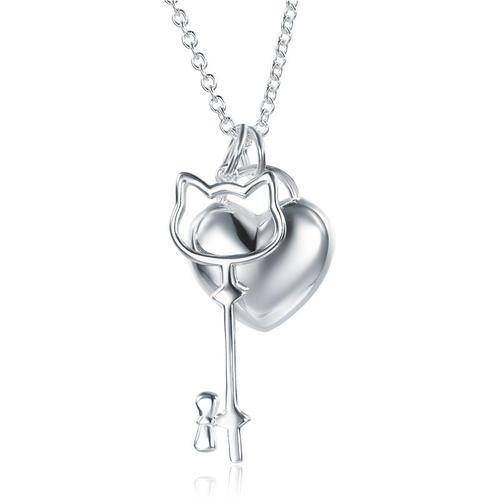 Kids Girl Heart Key Pendant Necklace 925 Sterling Silver Children Jewelry