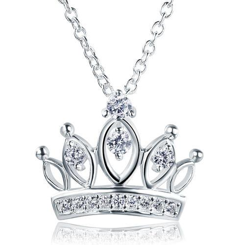 Kids Girl Crown Pendant Necklace 925 Sterling Silver Children Jewelry
