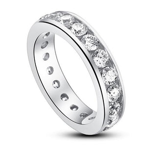 Channel Setting Created Diamond 925 Sterling Silver Eternity Band Wedding Anniversary Ring