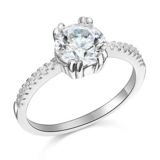 2 Carat Created Diamond Engagement Sterling 925 Silver Ring