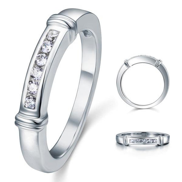 Channel Set Created Diamond Solid Sterling 925 Silver Wedding Ring