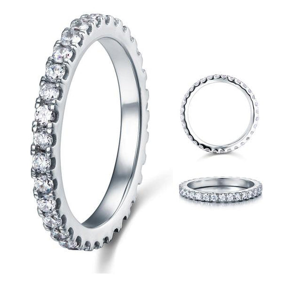 Micro Set Eternity Created Diamond Solid Sterling 925 Silver Wedding Ring