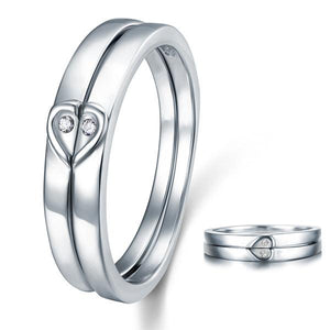 Heart Created Diamond 2-Pc Solid Sterling 925 Silver Wedding Ring Set