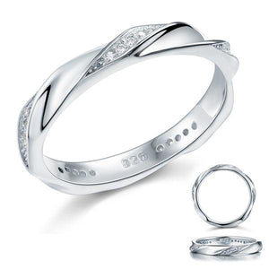 Created Diamond Solid Sterling 925 Silver Twist Ring