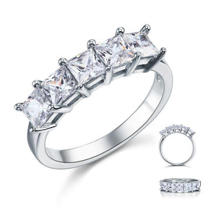 Princess Cut  Five Stone 1.25 Ct Solid 925 Sterling Silver Bridal Wedding Band Ring Jewelry
