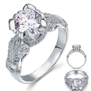 Vintage Victorian Style 2 Carat Created Diamond Solid 925 Sterling Silver Wedding Engagement Ring