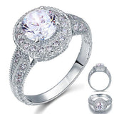 Vintage Style 2 Carat Created Diamond Solid 925 Sterling Silver Wedding Engagement Ring