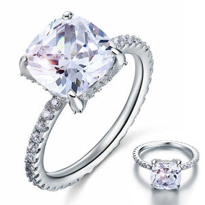 5 Carat Cushion Cut Created Diamond Solid 925 Sterling Silver Wedding Engagement Promise Ring Jewelry
