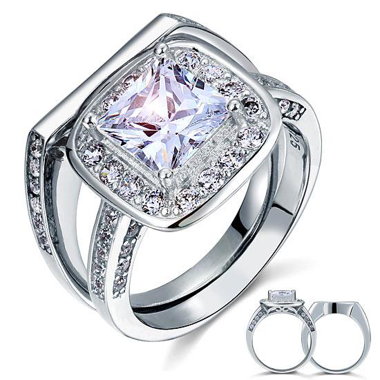 Vintage Style 2 Carat Created Diamond Solid Sterling 925 Silver 2-Pc Bridal Wedding Engagement Ring Set