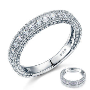 Vintage Style Art Deco Created Diamond Solid Sterling 925 Silver Band Wedding Eternity Ring