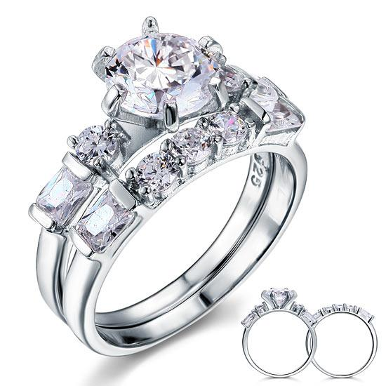 Vintage Style 2 Carat Created Diamond Solid Sterling 925 Silver 2-Pc Wedding Engagement Ring Set