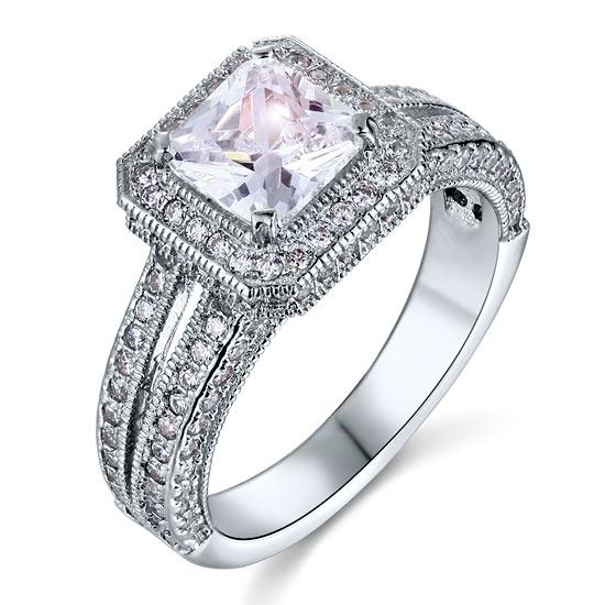 Vintage Style 1.5 Carat Created Diamond Solid 925 Sterling Silver Bridal Wedding Engagement Ring
