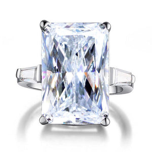 Radiant Cut Created Diamond 925 Sterling Silver Luxury Ring