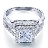 1.5 Carat Princess Created Diamond Solid 925 Sterling Silver Wedding Promise Engagement Ring Set