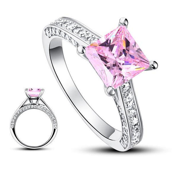 1.5 Carat Princess Cut Fancy Pink Created Diamond 925 Sterling Silver Wedding Engagement Ring