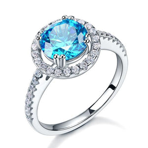 925 Sterling Silver Wedding Engagement Halo Ring 2 Carat Fancy Blue Created Diamond