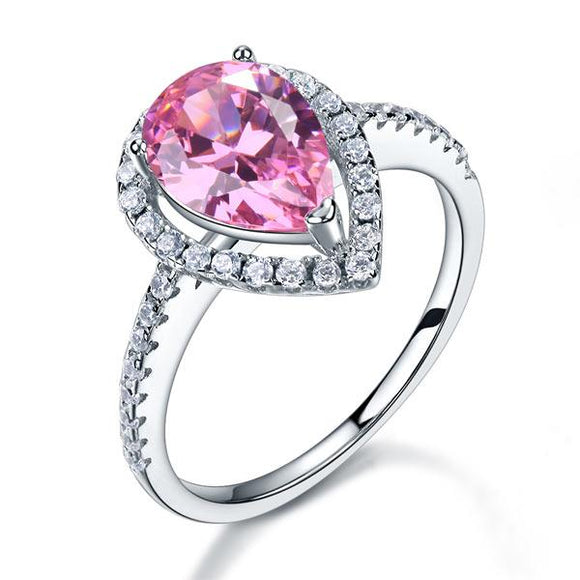 Sterling 925 Silver Wedding Engagement Ring Pear Fancy Pink Created Diamond Jewelry