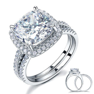 925 Sterling Silver 2 Pcs Wedding Engagement Ring Set 5 Ct Created Diamond