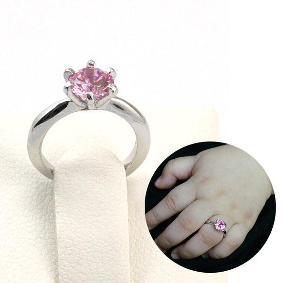 Newborn Baby 925 Sterling Silver Ring Pink Created Diamond Photo Prop