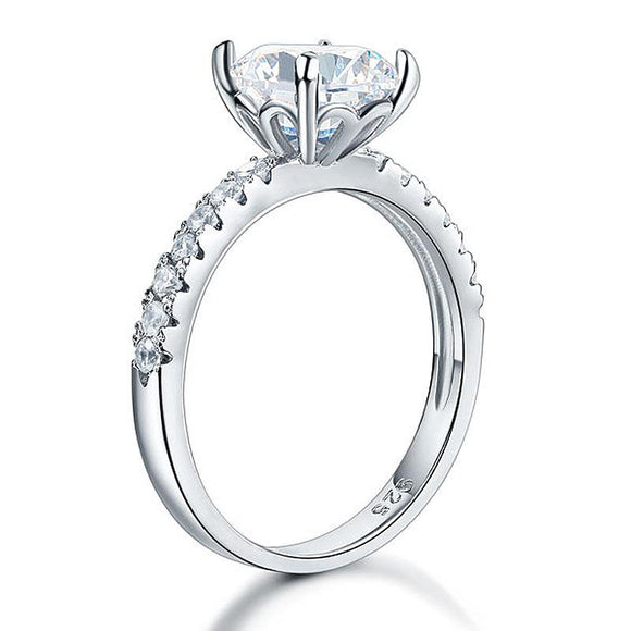 925 Sterling Silver Bridal Engagement Ring 2 Carat Created Diamond Jewelry