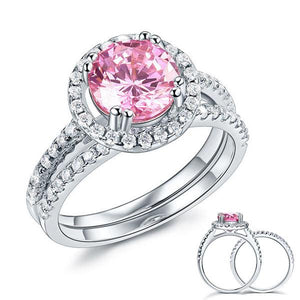 925 Sterling Silver Wedding Engagement Halo Ring Set 2 Carat Pink Created Diamond Wedding Jewelry
