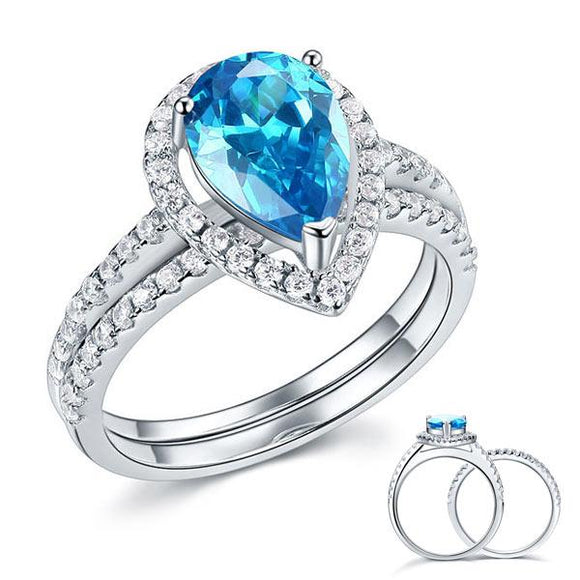 Sterling 925 Silver Bridal Wedding Engagement Ring Set 2 Carat Pear Fancy Blue Created Diamond Jewelry