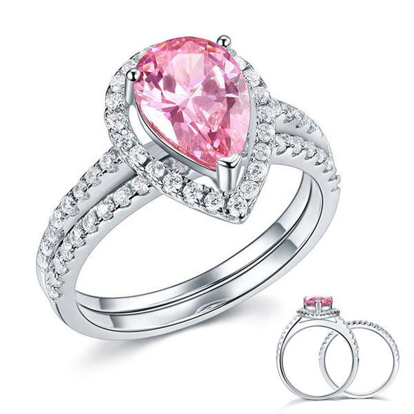 Sterling 925 Silver Bridal Wedding Engagement Ring Set 2 Carat Pear Fancy Pink Created Diamond Jewelry