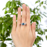 925 Sterling Silver 3-Stone Bridal Ring 2 Carat Created Blue Diamond Vintage Style Jewelry