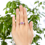925 Sterling Silver 3-Stone Wedding Ring 2 Carat Fancy Pink Created Diamond Jewelry Vintage Style