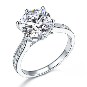 925 Sterling Silver Luxury Wedding Engagement Ring 3 Carat Created Diamond Jewelry
