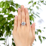 Luxury 925 Sterling Silver Wedding Anniversary Engagement Ring Halo 3.5 Ct Created Diamond