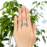 Luxury 925 Sterling Silver Wedding Anniversary Ring Set Vintage Created Diamond
