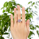 Snowflake 925 Sterling Silver Wedding Promise Anniversary Ring 1 Ct Fancy Pink Created Diamond