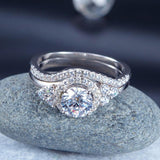 Solid 925 Sterling Silver Wedding Engagement Ring Set Anniversary Art Deco 1 Ct