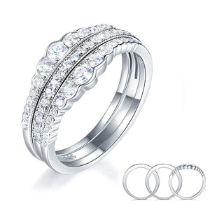 Solid 925 Sterling Silver Wedding Band Ring Set 3-Pieces Anniversary