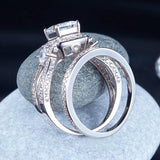 Princess Cut 925 Sterling Silver Wedding Engagement Ring Set Anniversary