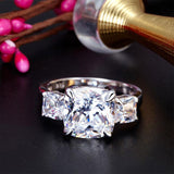 Cushion Cut 4 Carat Solid 925 Sterling Silver Ring Three-Stone Pageant Luxury Jewelry