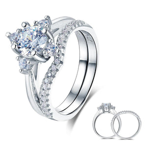 Solid 925 Sterling Silver 2-Pcs Wedding Engagement Ring Set 1 Ct Round Cut Jewelry