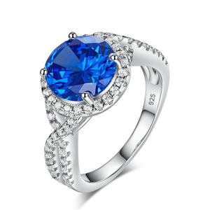 3 Carat Navy Blue Stone 925 Sterling Silver Wedding Engagement Luxury Ring Promise Anniversary