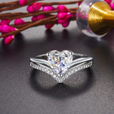 2 Carat Heart Created Cut Diamond Engagement Ring 925 Sterling Silver