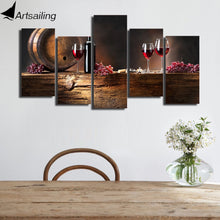 Grape red wine glasses Oak barrels painting