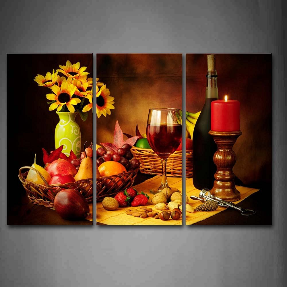 Grapes Fruit And Red Wine Bottle Still Life