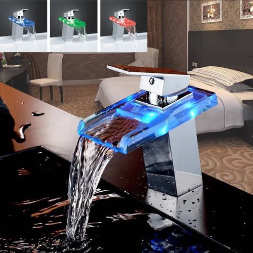 LED Color Changes Glass Waterfall Basin Faucet