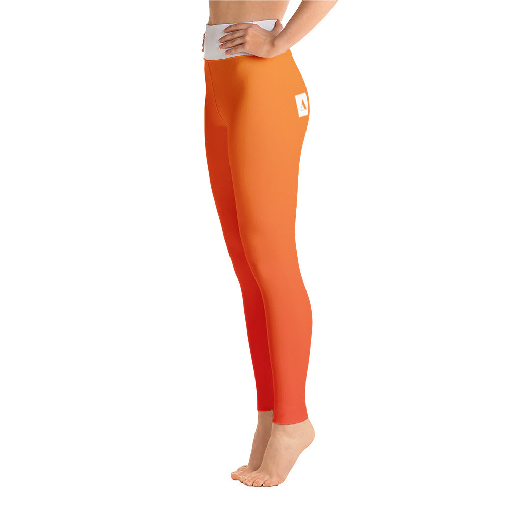 Orange Gradient High-Waist Leggings
