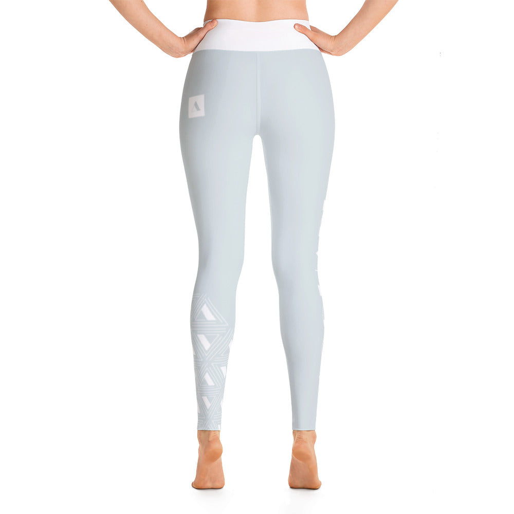Light Blue Motif High-Waist Leggings