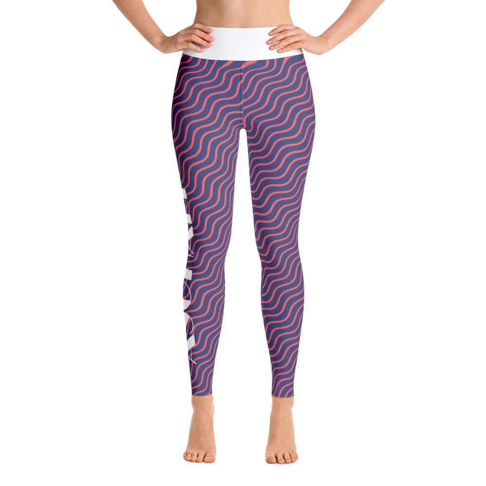 Purple Abstract High-Waist Leggings