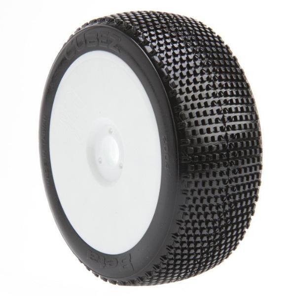 BE2114 Cubez Buggy Tire (White Wheel) (Pr) PREGLUED
