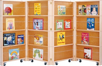 KIDS MOBILE LIBRARY BOOKCASE - 4 SECTIONS FOR WAITING ROOMS