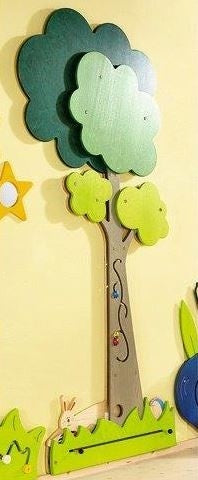 Tall Tree and Animals Meadow Wooden interactive Play Wall Panel